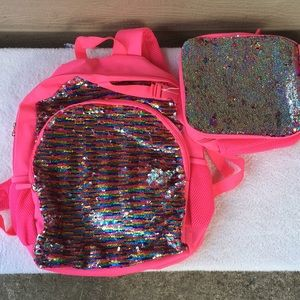 Other - Pink backpack/lunch kit w colored flip sequins NWT